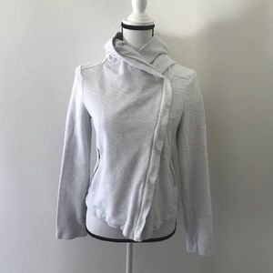 Saturday Sunday White Hooded Tweed Moto Jacket S